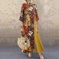 Vintage Floral Bedruckte Frauen Sommerkleid Herbst O Neck 3/4 Hülse Baumwolle Leinen Lange Kleid Weibliche Patchwork Vestido Plus Größe 5XL