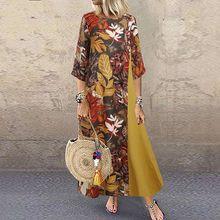 Vintage floral impresso mulheres vestido de verão outono o pescoço 3/4 manga algodão linho longo vestido feminino retalhos plus size 5xl