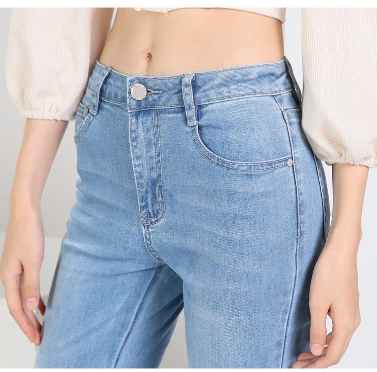 KSTUN FERZIGE high waist women jeans stretch light blue hollow out embroidery slim fit bell bottom pants fashion women's jeans size 36 20