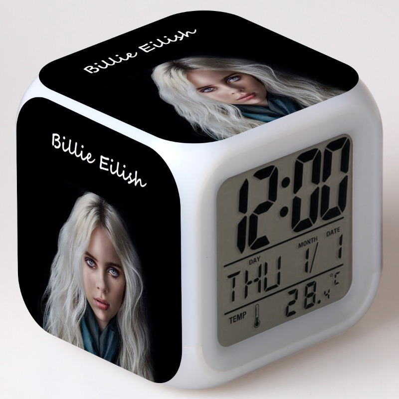 Billie Eilish Action Figures LED 7 Colors Change Touch Light Alarm Desk Watch Boys Toys