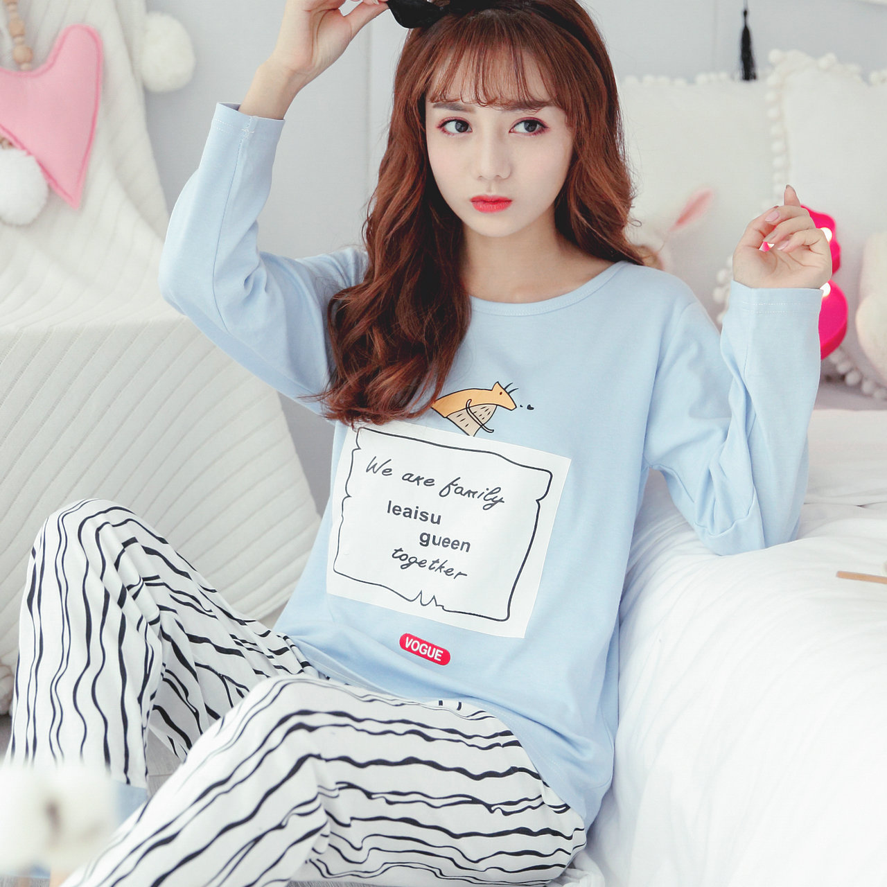 Autumn Series Pajamas Women's Pure Cotton Long Sleeve Crew Neck Pullover Cute Cartoon GIRL'S Students Home Wear Two-Piece Set