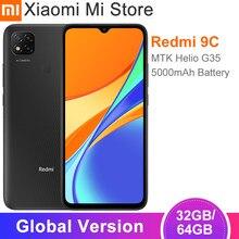 Versão global xiaomi redmi 9c telefone móvel 2gb ram 32gb rom mtk helio g35 6.53