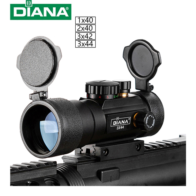 DIANA 3X44 Green Red Dot Sight Scope Tactical Optics Riflescope Fit 11/20mm rail Rifle Scopes for Hunting 1
