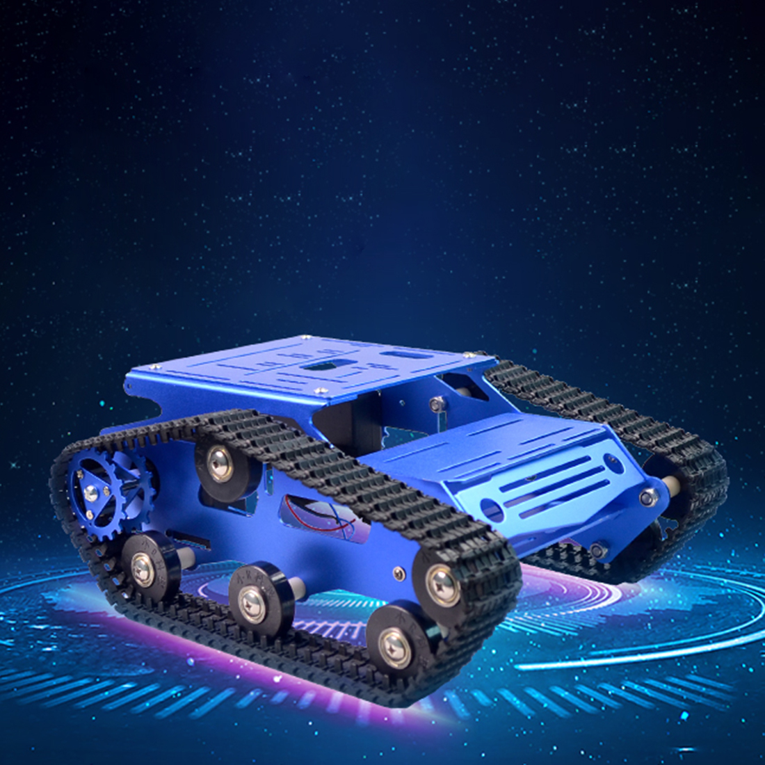 DIY Intelligent Programmable Robot Tank Crawler Chassis Car Frame Kit High Quality Gift For Adults Children - Blue 2