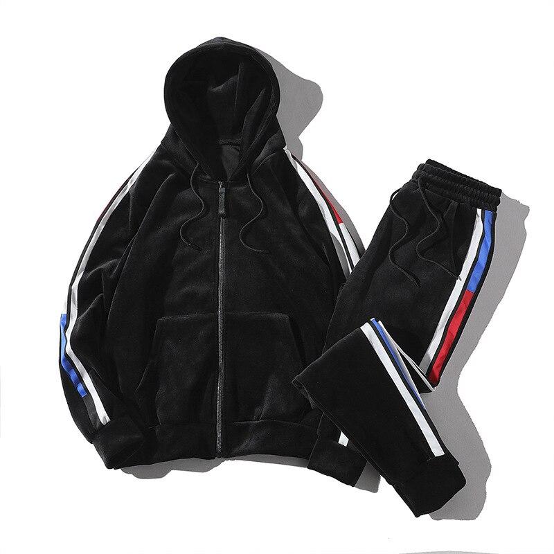 Men's Sports Leisure Jacket Pants 2 Piece Set Sweatsuits Velvet Sport Wear Sweat Suits Men Oversized Loose Warm Soft Tracksuit