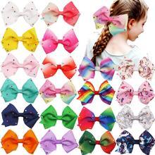 20PCS 5.5 นิ้วขนาดใหญ่ Rainbow Hair Bows คลิป Sparkly Glitter Rhinestones Bows คลิปฝรั่งเศสสำหรับหญิง lady