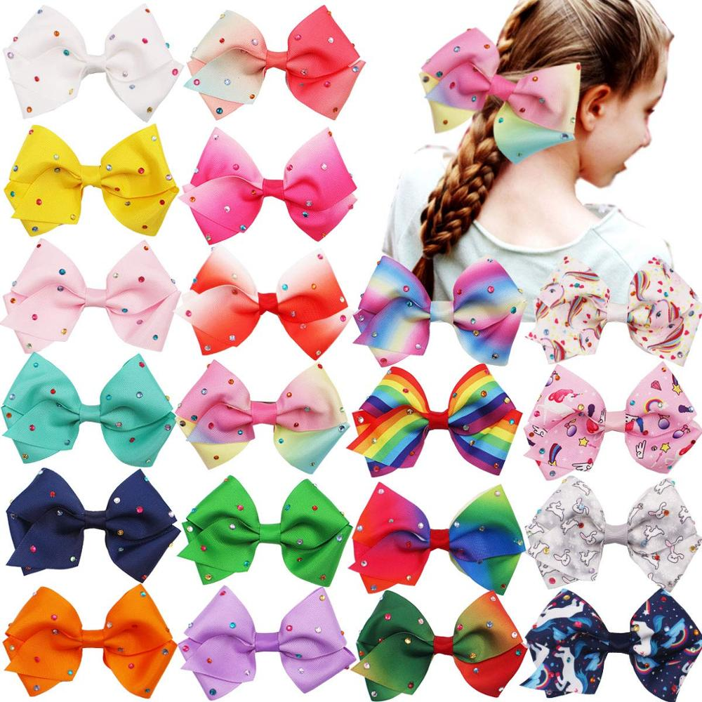 20PCS 5.5Inch Large Big Rainbow Hair Bows Clips Sparkly Glitter Rhinestones Hair Bows French Clips for Girls Women Lady-in Hair Accessories from Mother & Kids