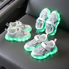 Boys Led Shoes USB Rechargeable Fashion Luminous Sneakers for Boys Girls Party Shoes Children Wedding Shoes Glowing Shoes D04144 cheap jiiyello Rubber Fits true to size take your normal size Mesh (Air mesh) Hook Loop patchwork Spring Summer Breathable