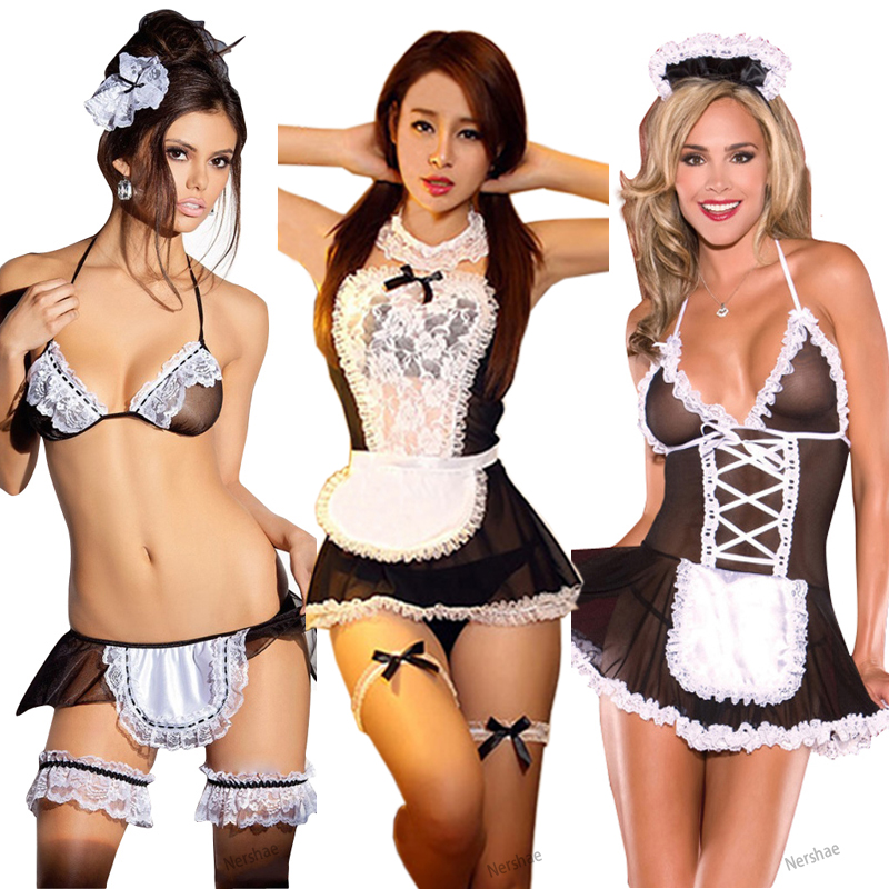 Sexy Porno Lingerie Babydoll Erotic Costume Woman Lingerie Lace Maid Dress Sexy Underwear Sexi Lenceria Erotic Lingerie Role