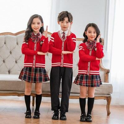 Preppy Style Enfants Vêtements Ensemble Tricoté Gilet + Chemise + Cravate ou Cravate + Rayé Jupe ou Pantalon Solide Filles Garçons 4 pièces Costumes