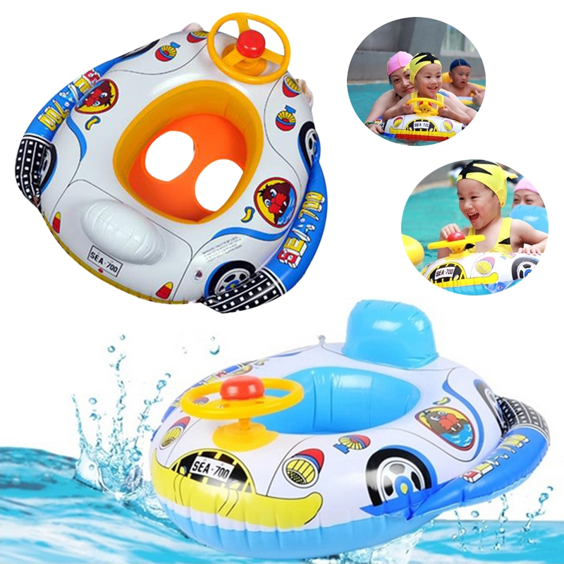 Cute Baby Pool Toys Inflatable Swimming Ring Seat Floating Car Shape Boat Aid Trainer With Wheel Horn Suit For Kids Children