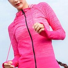 Новые женские спортивные толстовки с длинным рукавом для бега, повседневные рубашки для йоги на молнии, Приталенный свитшот с капюшоном, ку...