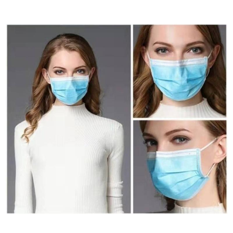 50PCS Disposable Face Mask Mouth Mask Antibacterial 3 Layers Non-woven Dust Filter Ear Loop Mouth Mask Unisex