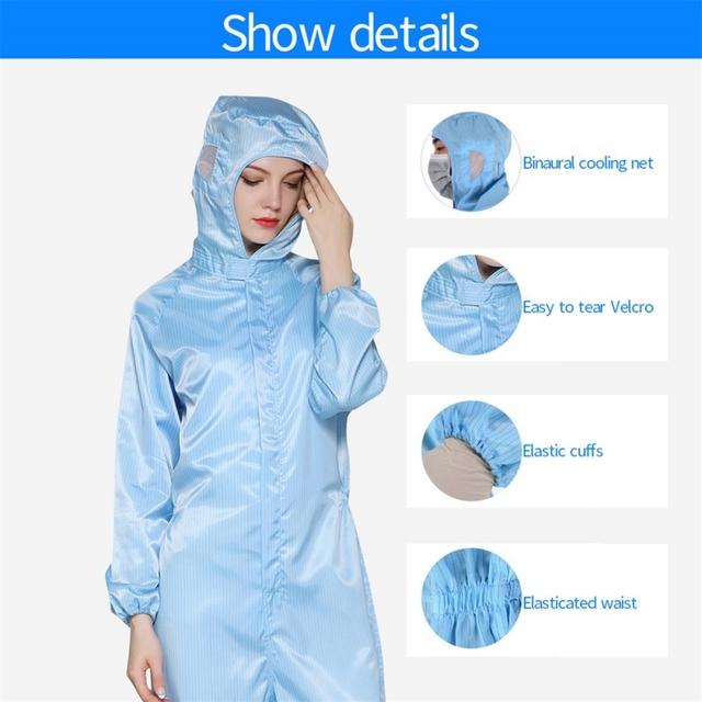 PPE Gown Disposable Breathable Coveralls Isolation Work Suit Safety Protective Clothing Hooded Suit Dust-proof Antistatic Unisex 2