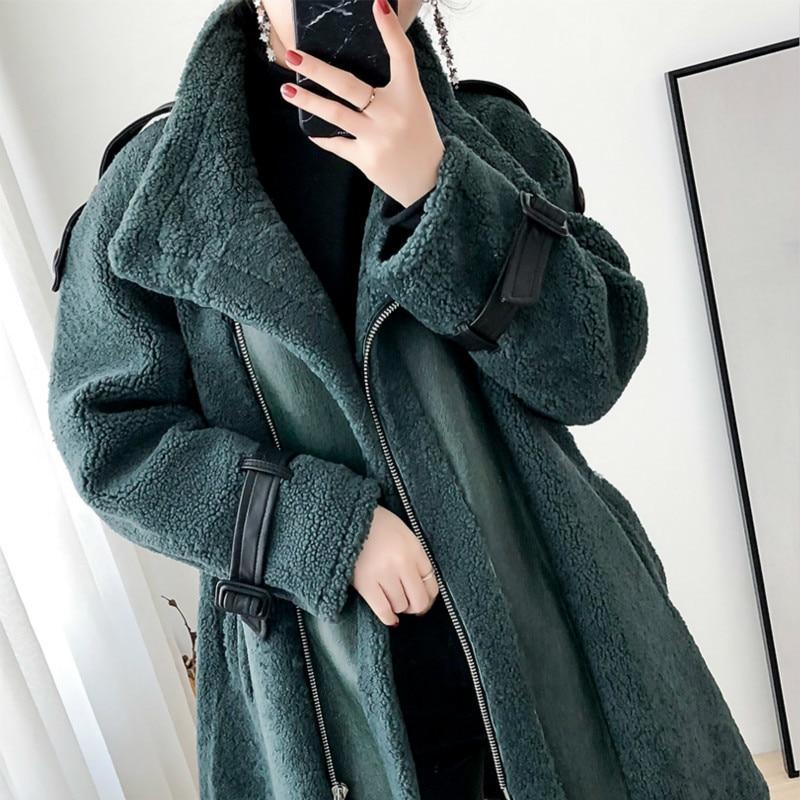 Real Fur Sheep Shearing Winter Coat Motorcycle Wool Jacket Women Clothes 2020 Manteau Femme BGS20269 YY1096