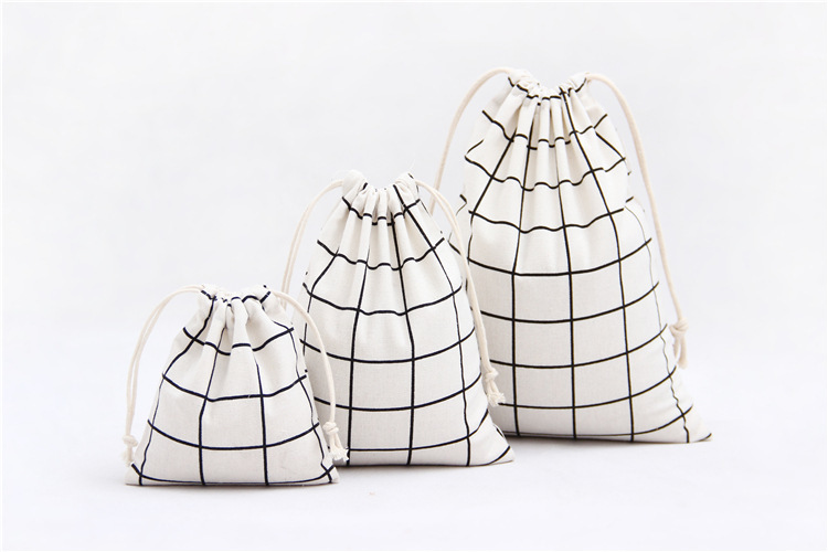 3Pcs/Set Women Canvas Drawstring Bags Plaid Cotton Storage Cloth Bags Foldable Tea/Candy/Gift/Clothes Case Pouch