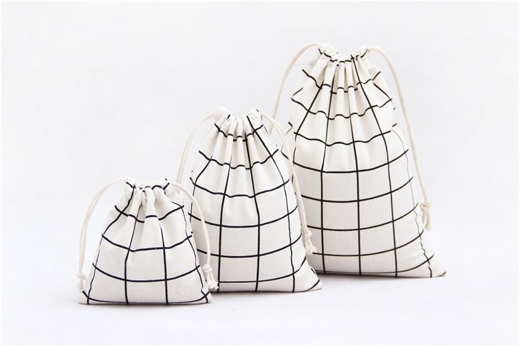 3Pcs/Set Women Canvas Drawstring Bags Plaid Cotton Storage Cloth Bags Foldable Tea/Candy/Gift/Clothes Case Pouch