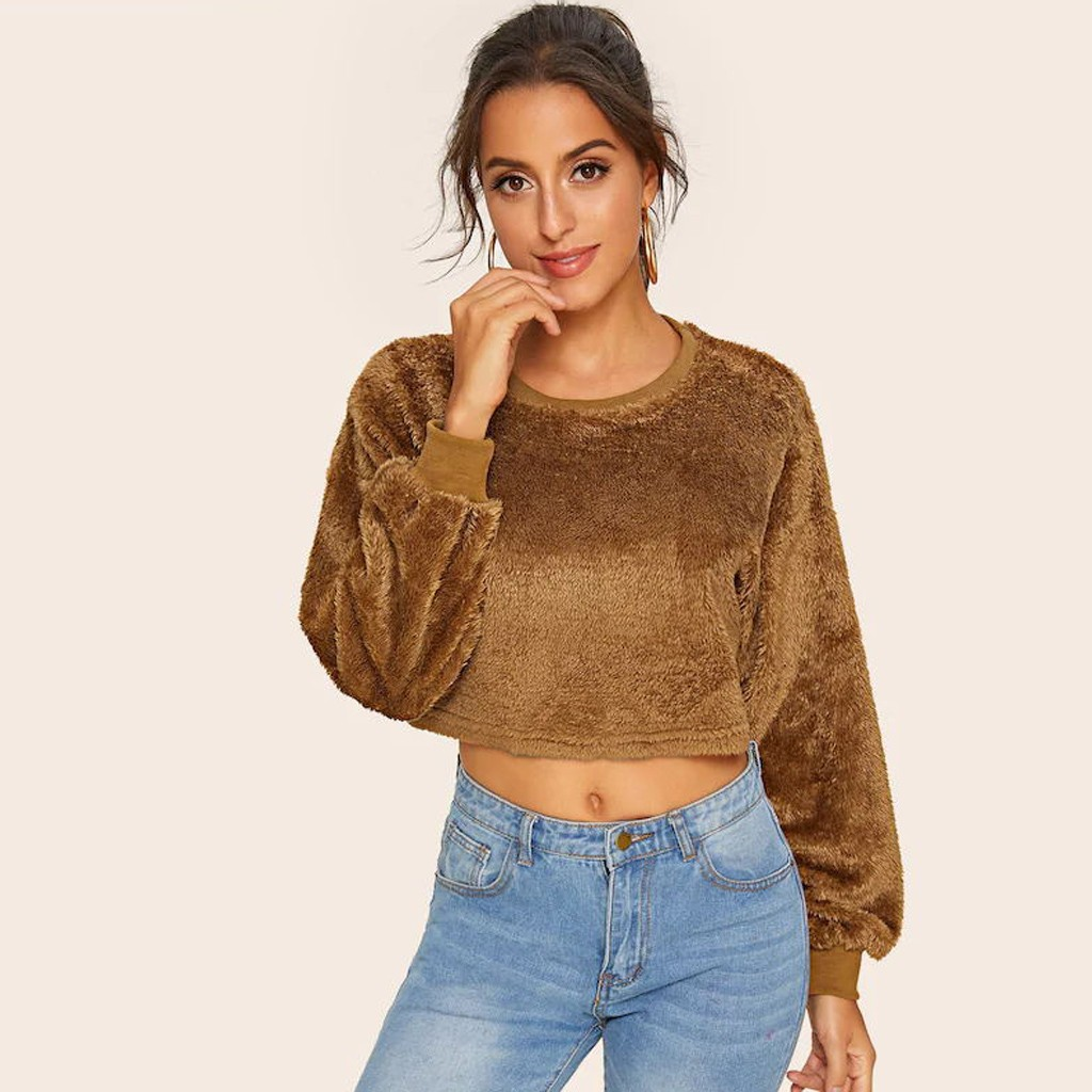Fashion Cropped Sweatshirt Women Casual Plus Velvet Fashionable O-Neck Long Sleeve Solid Blouse Sweatershirt Tops