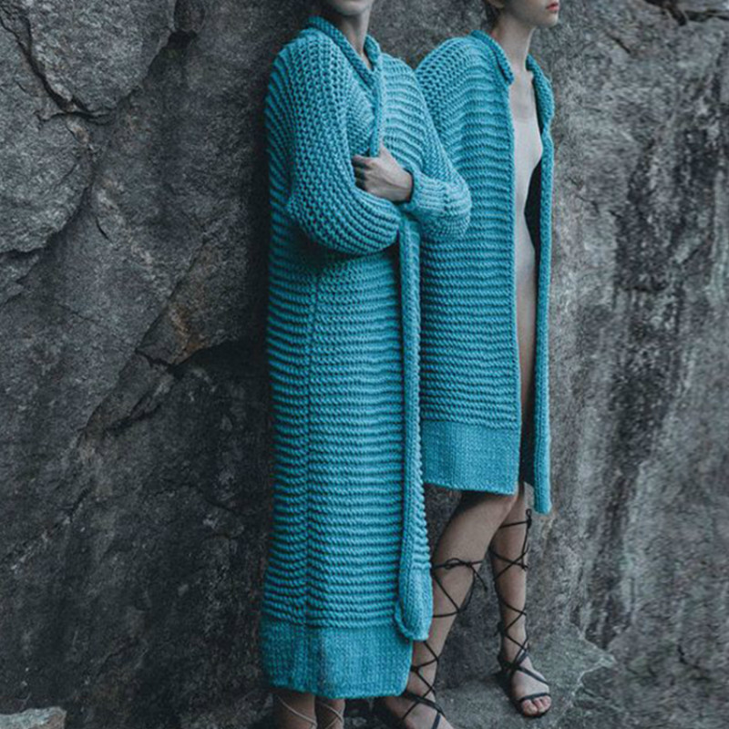 Automne hiver chandails Cardigan tricoté lâche paon bleu tricot haut pour femme Cardigans Long manteau 2019 grande taille chandail B001