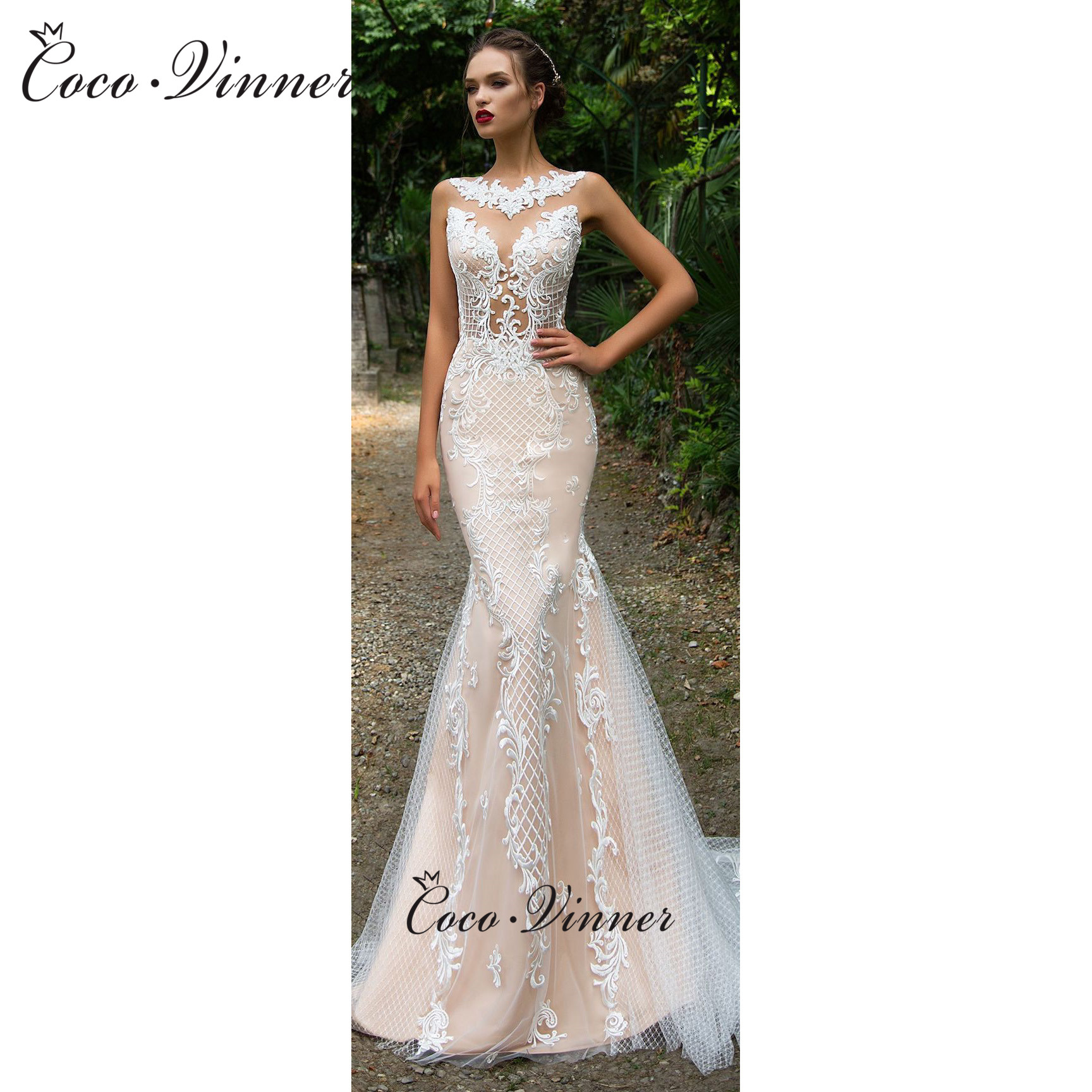 Delicate Embroidery Illusion Sleeves Sweetheart Neck Mermaid Wedding Dress Champagne W0587