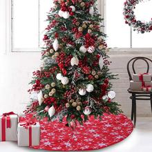106 м снежный цветок печать Красная рождественская елка юбка круглый ковер Домашний напольный коврик украшения