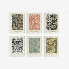 Ensemble d'art mural à Motif floral William Morris, 6 motifs botaniques, Art Nouveau-19ème siècle, Art imprimable