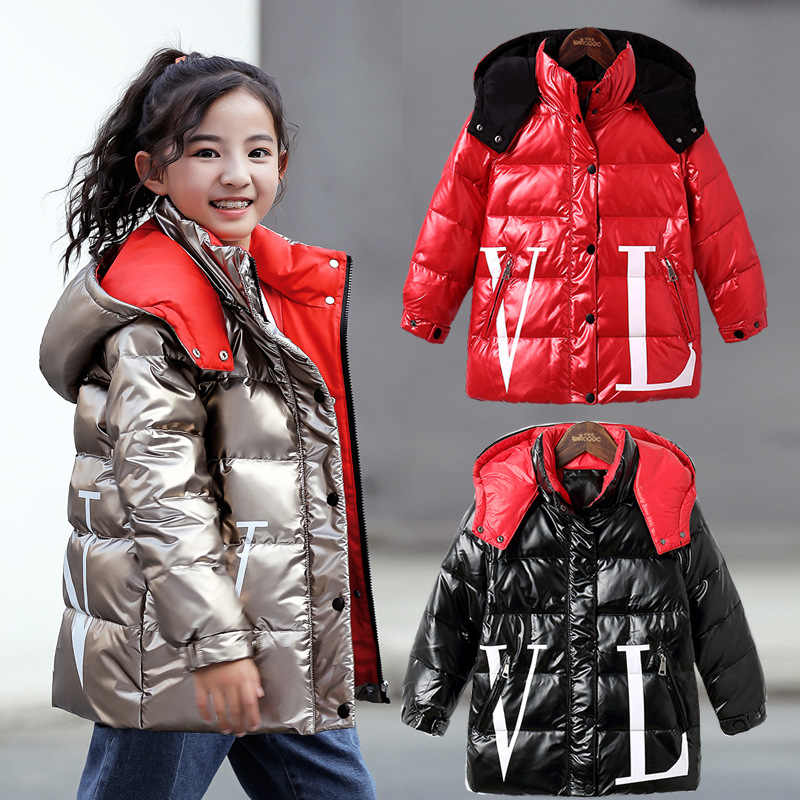 "Kids Shiny Duck Down Hooded Jacket for Girls Winter Clothes Children""s Thick Parkas Teeangers Warm Bubble Coats 11 12 14 Years"