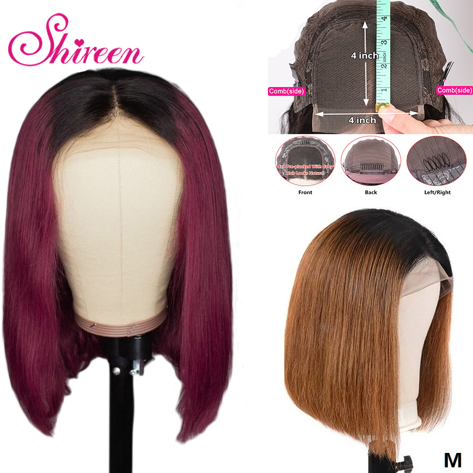 Shireen Straight Short Bob Wigs 1B/99J Ombre Color 4x4 Lace Closure Human Hair Wigs 1B/30 Brazilian Remy Hair Pre-Plucked Wigs