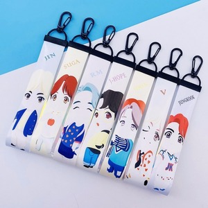 10pcs/lot Kpop Cartoon Mobile Phone Lanyard JUNGKOOK JHOPE V JIN RM SUGA JIMIN Hand Lanyard Colorful Laser Name Bar Toy Gift