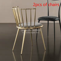 15%,2 pcs Fashion Nordic Gold Iron Chair modern design dressing table chairs metal steel chair makeup stool Multicolor mat
