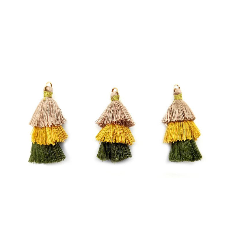 X ROYAL 20Pcs lot New Bohemian Style 3 Layered Pyramid Tassels Multi Color Earring Charms Women DIY Findings 40mm Ethnic Tassels in Jewelry Findings Components from Jewelry Accessories