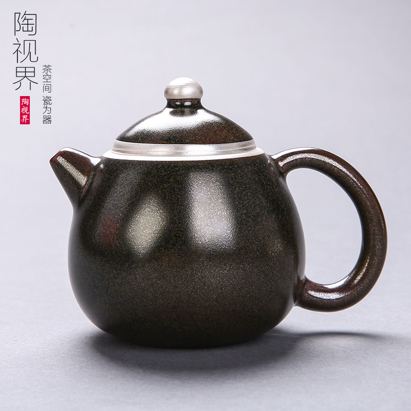999 Sterling Silver Blue And Silver Silver Plated Side Pot Household Simple Fresh Ceramic Teapot Filter Tea Set
