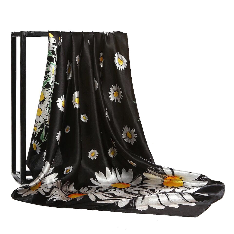 2020 Luxury Brand Women Scarf Summer Silk Scarves Shawls 90cm * 90cm Square Flower Little Daisy Lady Quick Sale Stole  Bandana