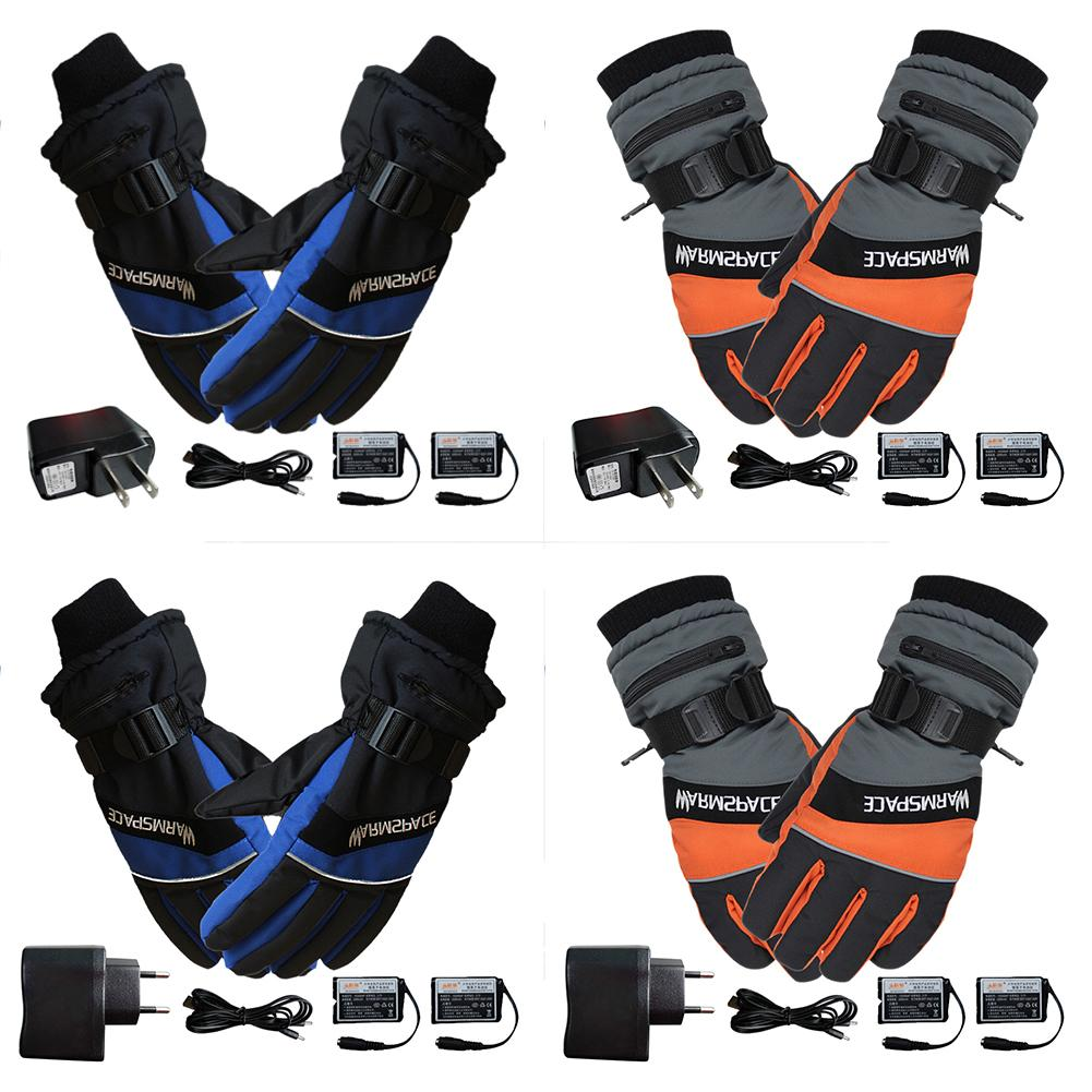 1 Pair Winter Ski Gloves USB Hand Warmer Electric Thermal Heated Gloves Waterproof Ski Motorcycle Heated Gloves Battery Powered