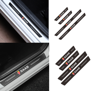 Car styling 4PCS Door Carbon Fiber Sill Scuff Plate Decor Sticker For Saab 93 95 Saab 9-3 9-5 900 9000 Accessories