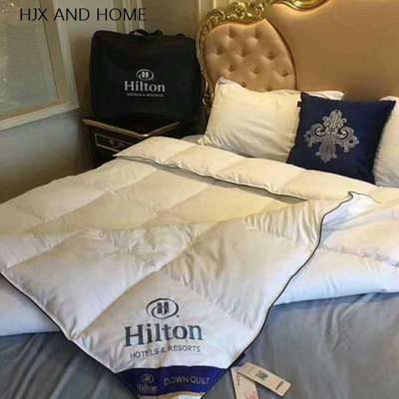 Warm And Comfortable Cotton 100% Goose Down Duvet Quilted Quilt King Queen Full Size Comforter Winter Thick Blanket Solid Color