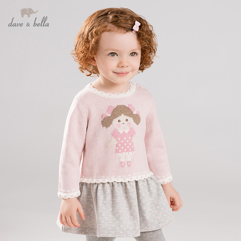 DB11413 dave bella autumn winter baby girl's princess cartoon sweater dress children party dress kids infant lolita clothes