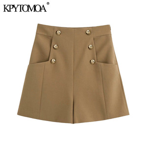 KPYTOMOA Women 2020 Chic Fashion With Pockets Decorative Buttons Shorts Vintage High Waist Back Zipper Female Short Pants Mujer