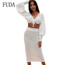 FUDA White Long Sleeve Bodycon Autumn Casual Party Dress Elegant Hollow Out Sexy Two Pieces Sets Femme Vestidos De Verano
