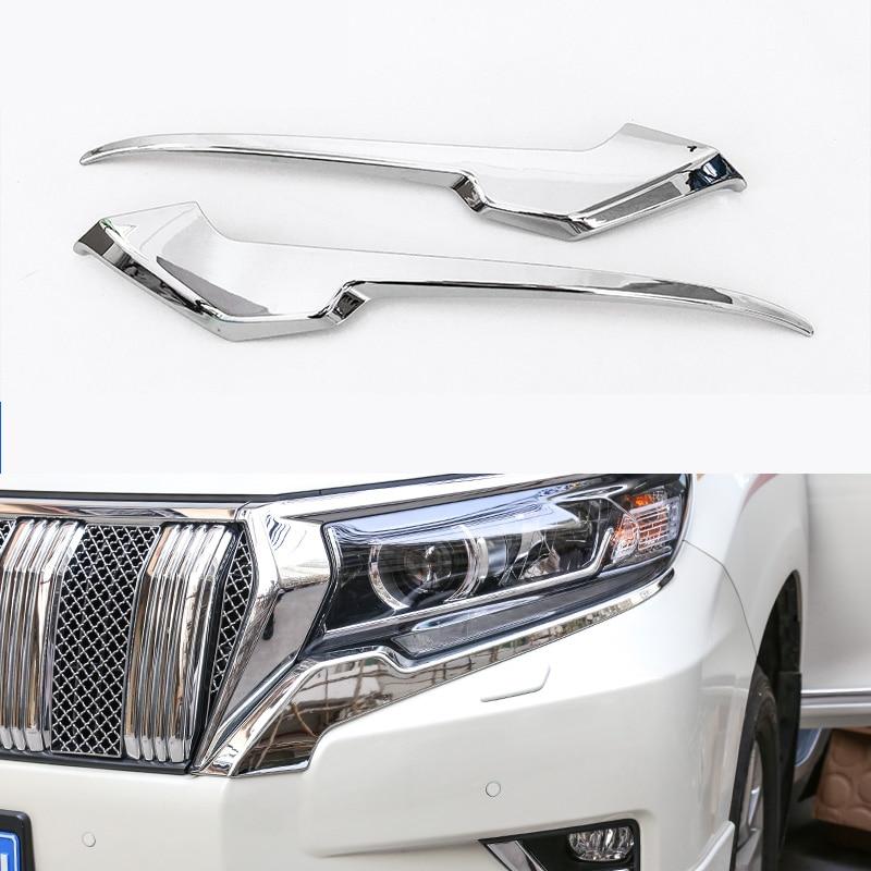 Lsrtw2017 Shiny Surface Abs Car Headlight Trims For Toyota Land Cruiser Prado 2014 2015 2016 2017 2018 2019 2020 Chrome