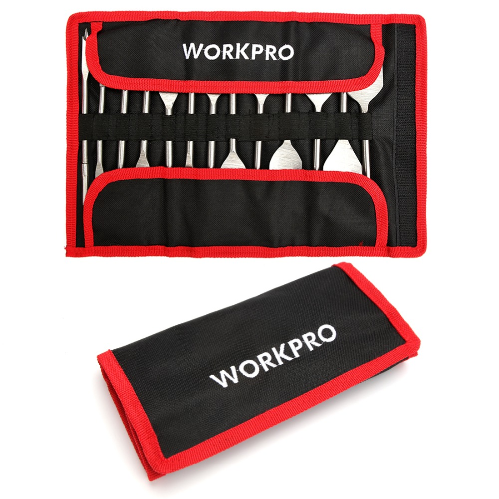 WORKPRO 13-Piece Spade Drill Bit Set in Metric Paddle Flat Bits for