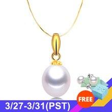 Yüksek kaliteli söz gerçek 18K sarı altın kolye kadınlar için moda 5A doğal tatlı su incisi kolye zincir takı