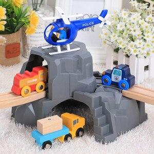 Plastic Grey Double Tunnel Wooden Train Track Accessories Tunnel Track Train Slot Wood Railway Toys Bloques De Construccion
