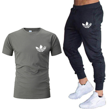 New Sport Suits men gym set Running Tracksuit Quick Dry Jogging Autumn Fitness suits T-shirt + pants 2pc sets