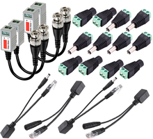 BNC Video Balun+Ethernet PoE Adapter RJ45 Injector Splitter+12V DC Male Female Plug  Connector CCTV Power Cable 2.1 x 5.5mm