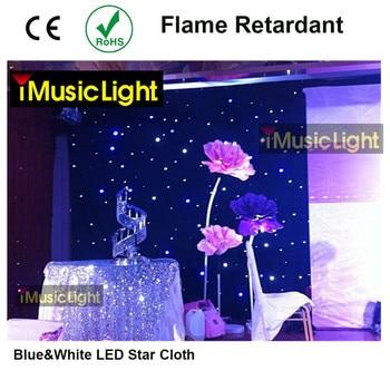 2M x 3M niebieski + biały LED etap zasłona tkanina w gwiazdki kurtyna tło ekran z kontroler dmx na wesele Christmas Party