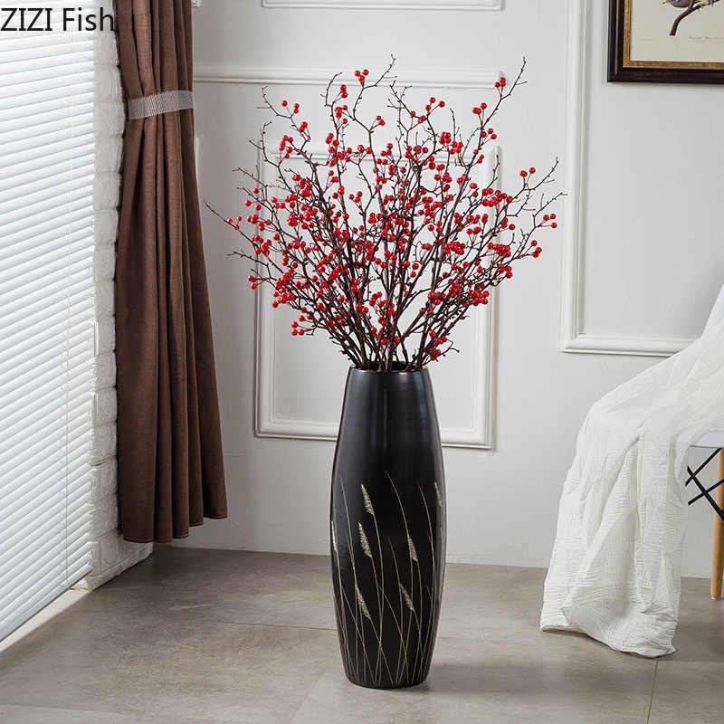 Chinese Classic Ceramics Vases Reed Pattern Large Floor Vase Living Room Flower Arrangement Black Porcelain Crafts Home Decor Vases Aliexpress