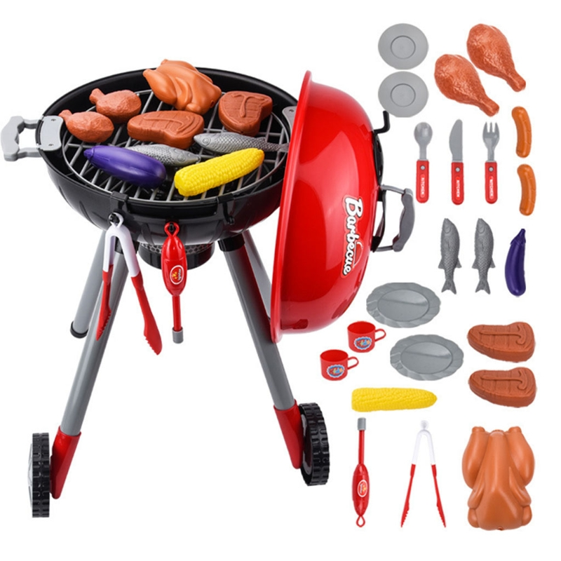 1Set Toy Kitchen Set Play House Toy Toddler Electric BBQ Grill with Real Sound & Light Girls Pretend Play Role-Play Set