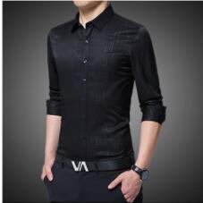 2018 Autumn Fashion Business Leisure Slender Sleeve Shirt Youth Trend Men's Shirt