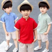 Детская Китайская одежда для мальчиков; Летняя коллекция года; детская одежда; китайская культура; традиционная китайская одежда для мальчиков; Cott